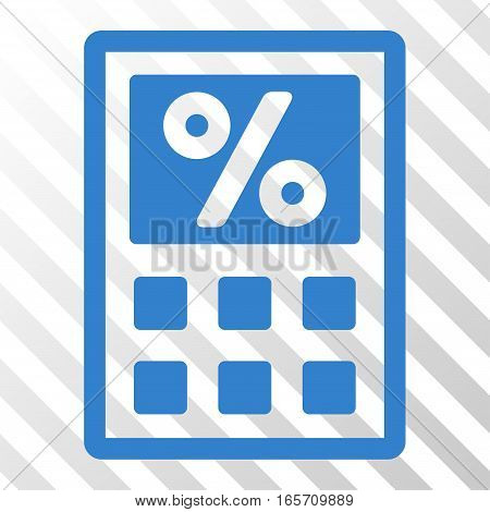 Cobalt Tax Calculator interface toolbar pictogram. Vector pictograph style is a flat symbol on diagonally hatched transparent background.