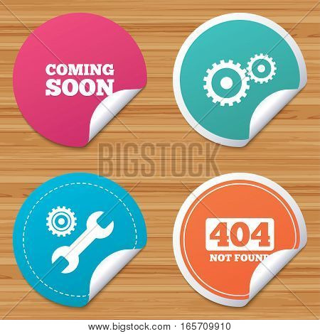 Round stickers or website banners. Coming soon icon. Repair service tool and gear symbols. Wrench sign. 404 Not found. Circle badges with bended corner. Vector
