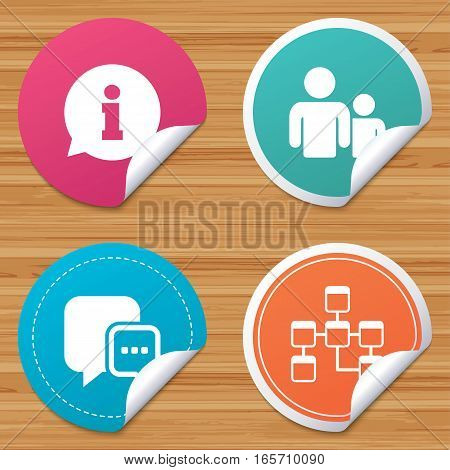Round stickers or website banners. Information sign. Group of people and database symbols. Chat speech bubbles sign. Communication icons. Circle badges with bended corner. Vector