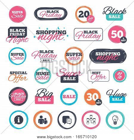 Sale shopping stickers and banners. Information sign. Group of people and database symbols. Chat speech bubbles sign. Communication icons. Website badges. Black friday. Vector