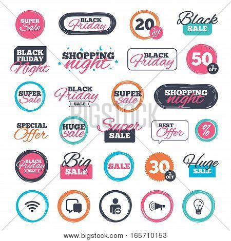 Sale shopping stickers and banners. Wifi and chat bubbles icons. Add user and megaphone loudspeaker symbols. Communication signs. Website badges. Black friday. Vector