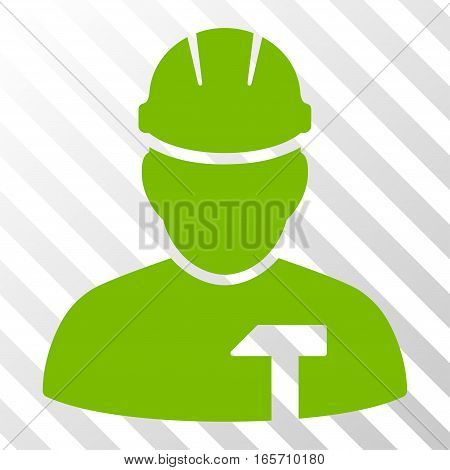 Eco Green Builder Person toolbar pictogram. Vector pictograph style is a flat symbol on diagonal hatch transparent background.