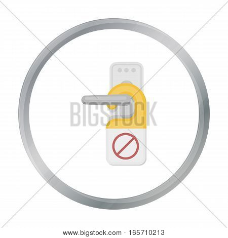 Do not disturb sign icon in cartoon style isolated on white background. Hotel symbol vector illustration.