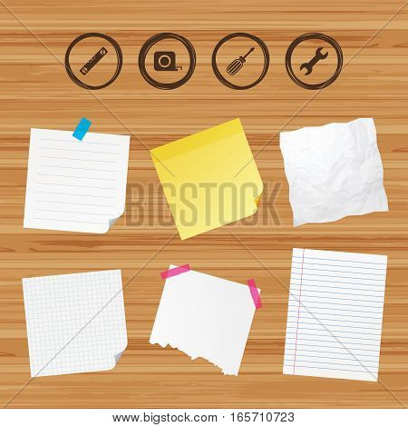 Business paper banners with notes. Screwdriver and wrench key tool icons. Bubble level and tape measure roulette sign symbols. Sticky colorful tape. Vector