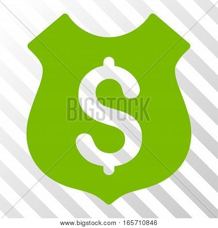 Eco Green Guard Price toolbar icon. Vector pictogram style is a flat symbol on diagonal hatch transparent background.