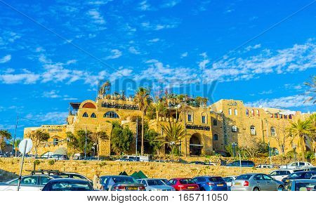 TEL AVIV ISRAEL - FEBBRUARY 25 2016: The artists' quarter in old Jaffa is the popular tourist place with many tiny museums and art galleries on February 25 in Tel Aviv.