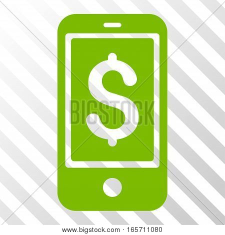 Eco Green Mobile Balance interface toolbar pictogram. Vector pictogram style is a flat symbol on diagonal hatch transparent background.