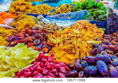 The sweet dried fruits in the stall of Carmel market Tel Aviv Israel.