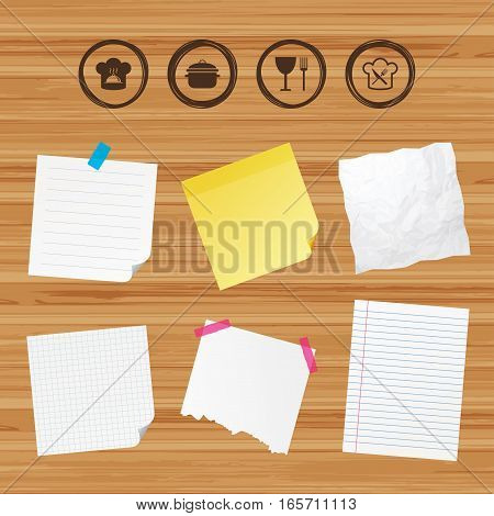 Business paper banners with notes. Chief hat and cooking pan icons. Crosswise fork and knife signs. Boil or stew food symbols. Sticky colorful tape. Vector