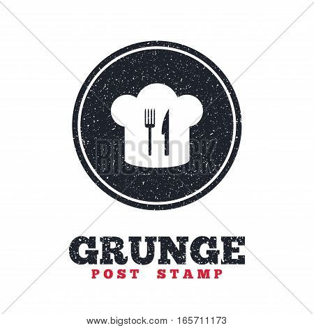 Grunge post stamp. Circle banner or label. Chef hat sign icon. Cooking symbol. Cooks hat with fork and knife. Dirty textured web button. Vector