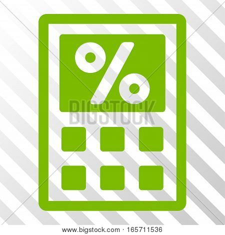 Eco Green Tax Calculator interface toolbar pictogram. Vector pictograph style is a flat symbol on diagonal hatch transparent background.