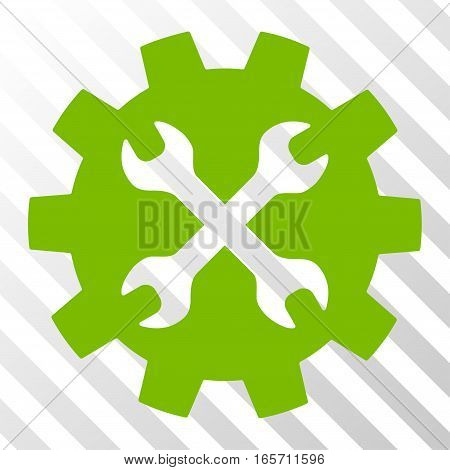 Eco Green Tools interface toolbar pictogram. Vector pictogram style is a flat symbol on diagonal hatch transparent background.