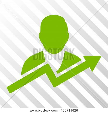 Eco Green User Trend interface toolbar pictogram. Vector pictogram style is a flat symbol on diagonally hatched transparent background.