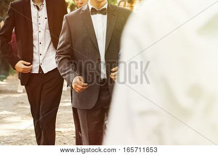 Stylish Confident Man In Suit And Bowtie, Reception At Luxury Wedding, Rich Graduation At School Or