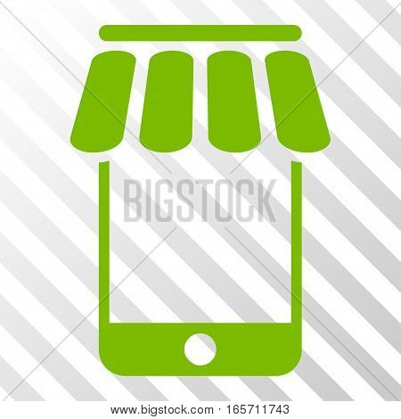 Eco Green Webstore toolbar pictogram. Vector pictogram style is a flat symbol on diagonal hatch transparent background.