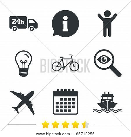 Cargo truck and shipping icons. Shipping and eco bicycle delivery signs. Transport symbols. 24h service. Information, light bulb and calendar icons. Investigate magnifier. Vector
