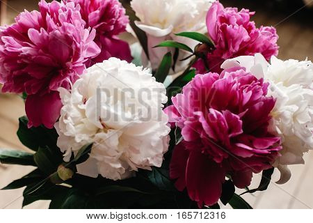 Beautiful Bunch Of Peonies In Vase On Wooden Background, Rustic Wallpaper Concept, Space For Text
