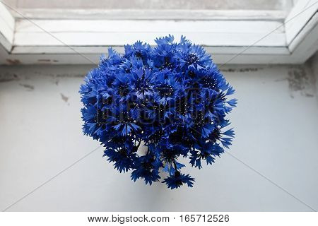 Beautiful Bunch Of Cornflowers In Vase On Wooden White Window Sill Background, Rustic Wallpaper Conc