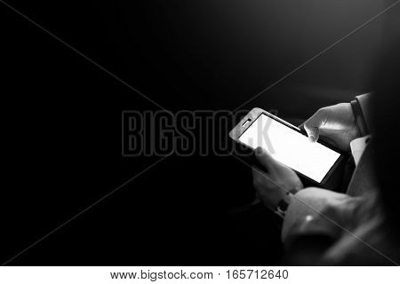 Stylish Man Holding Tablet With Empty White Screen, Sitting At Meeting, Business Marketing Lecture,