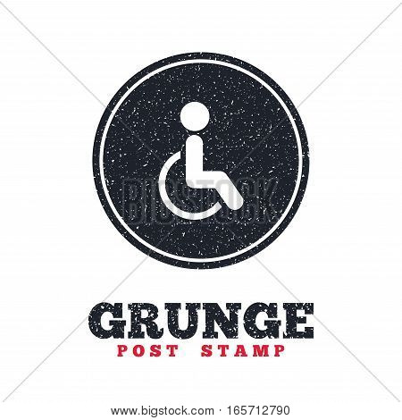 Grunge post stamp. Circle banner or label. Disabled sign icon. Human on wheelchair symbol. Handicapped invalid sign. Dirty textured web button. Vector