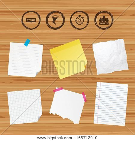 Business paper banners with notes. Strike icon. Storm bad weather and group of people signs. Delayed flight symbol. Sticky colorful tape. Vector