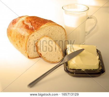 dinner glass of milk and bread and butter