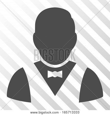 Gray Waiter interface icon. Vector pictograph style is a flat symbol on diagonally hatched transparent background.