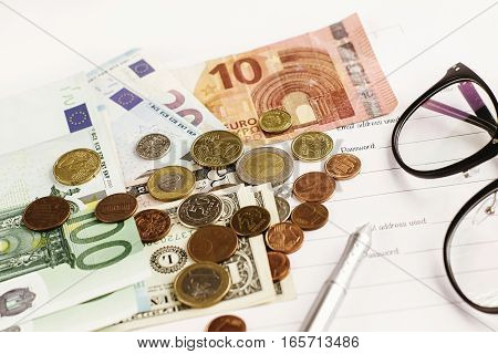 Money Pen Paper  And Glasses On White Background, Calculating Budget, Currency Balance, Financial An