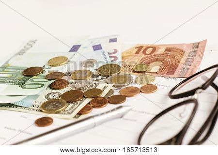 Money Pen Paper And Glasses On White Background,  Financial Analytics Concept, Calculating Budget, C