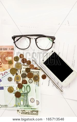 Money Phone Calculator Pen Paper And Glasses On White Background,  Financial Analytics Concept, Calc