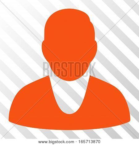 Orange Client toolbar pictogram. Vector pictogram style is a flat symbol on diagonal hatch transparent background.