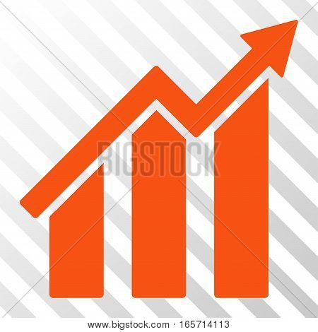 Orange Growth Chart interface toolbar pictogram. Vector pictograph style is a flat symbol on diagonally hatched transparent background.