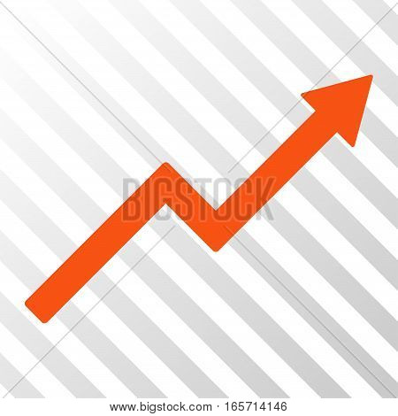 Orange Growth Trend Chart toolbar icon. Vector pictogram style is a flat symbol on diagonal hatch transparent background.