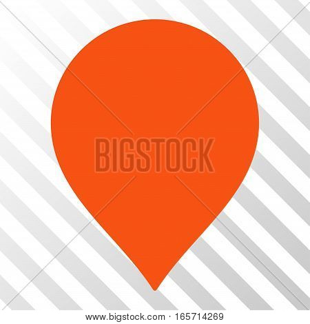 Orange Map Marker interface toolbar pictogram. Vector pictograph style is a flat symbol on diagonally hatched transparent background.