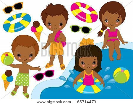 Vector African American kids pool party set
