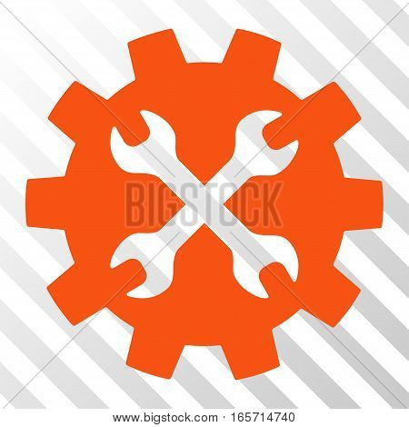Orange Tools interface toolbar icon. Vector pictogram style is a flat symbol on diagonal hatch transparent background.