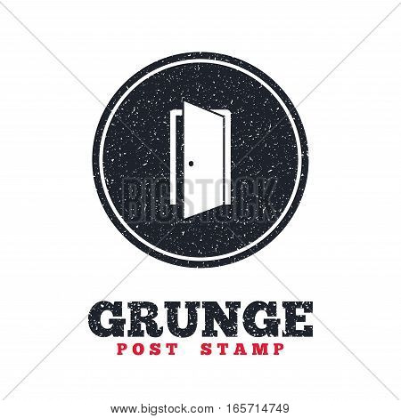Grunge post stamp. Circle banner or label. Door sign icon. Enter or exit symbol. Internal door. Dirty textured web button. Vector