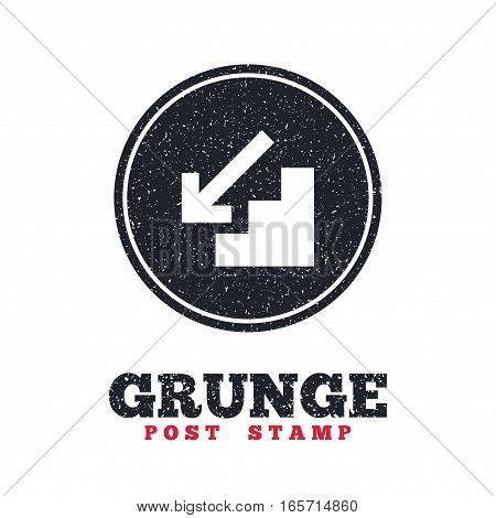Grunge post stamp. Circle banner or label. Downstairs icon. Down arrow sign. Dirty textured web button. Vector