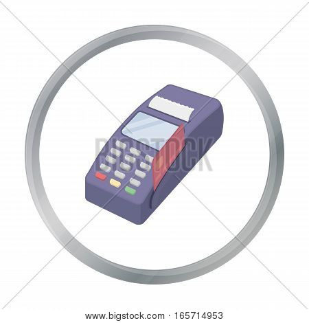 POS terminal icon in cartoon style isolated on white background. E-commerce symbol vector illustration.
