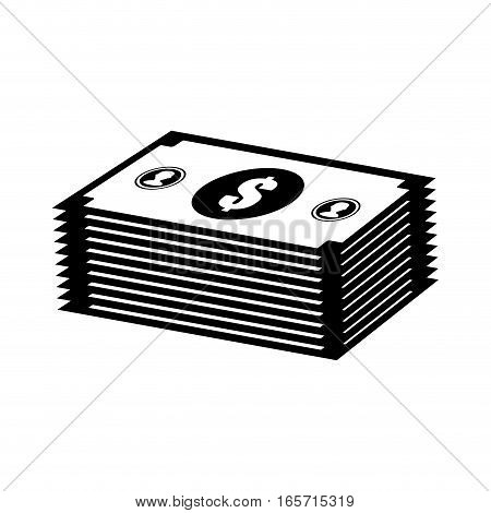 money bills or wad of cash over white background. vector illustration