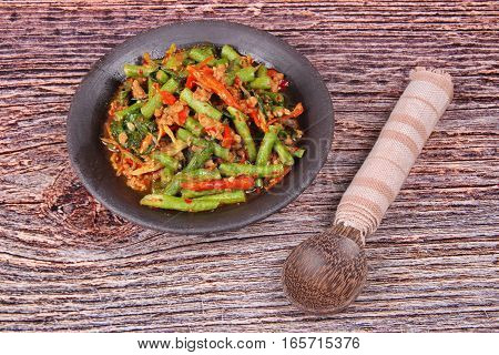Spicy Fried Cowpea With Minced Pork Call Pad Ped Tua.