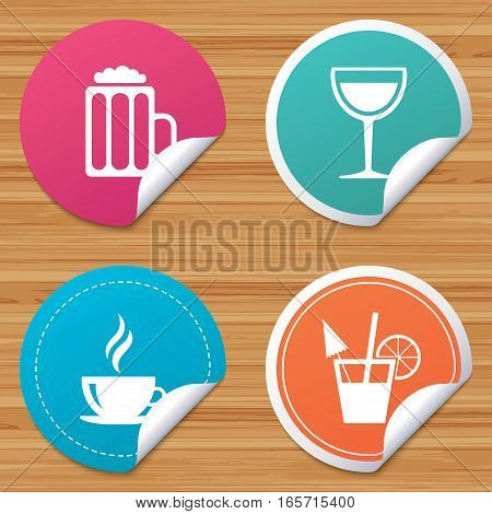 Round stickers or website banners. Drinks icons. Coffee cup and glass of beer symbols. Wine glass and cocktail signs. Circle badges with bended corner. Vector