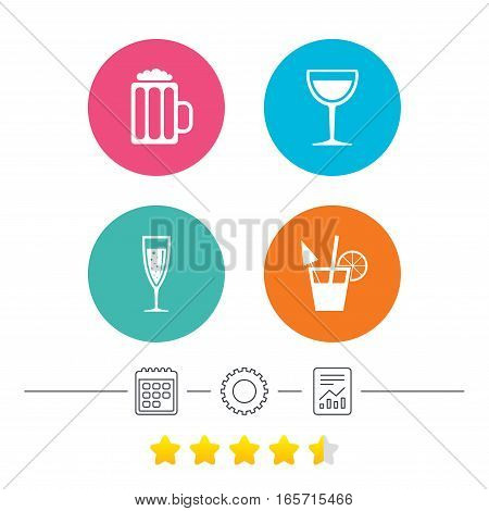 Alcoholic drinks icons. Champagne sparkling wine with bubbles and beer symbols. Wine glass and cocktail signs. Calendar, cogwheel and report linear icons. Star vote ranking. Vector