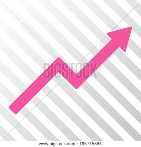Pink Growth Trend Chart interface pictogram. Vector pictogram style is a flat symbol on diagonal hatch transparent background.