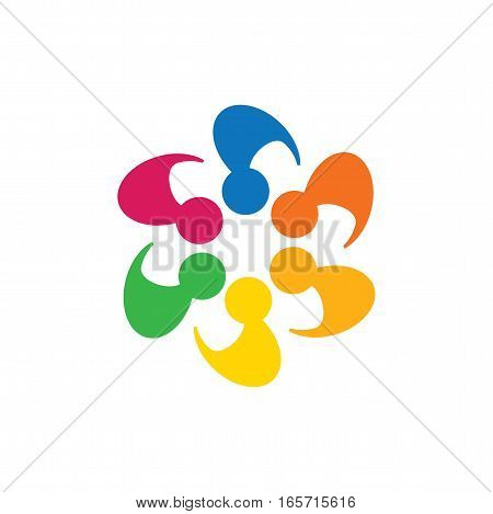 Abstract Colorful Five Happy People Vector Logo Icons As Ring.
