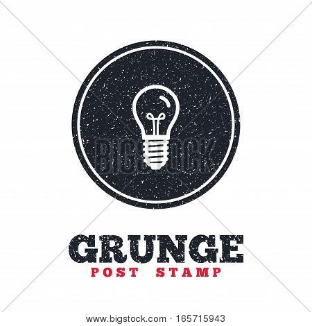 Grunge post stamp. Circle banner or label. Light bulb icon. Lamp E14 screw socket symbol. Illumination sign. Dirty textured web button. Vector