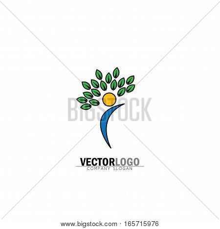 Organic People Logo, People Logo, Tree Logo, Vector Logo Template