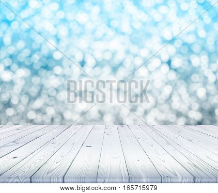 wood table top on blurred of white and blue bokeh background