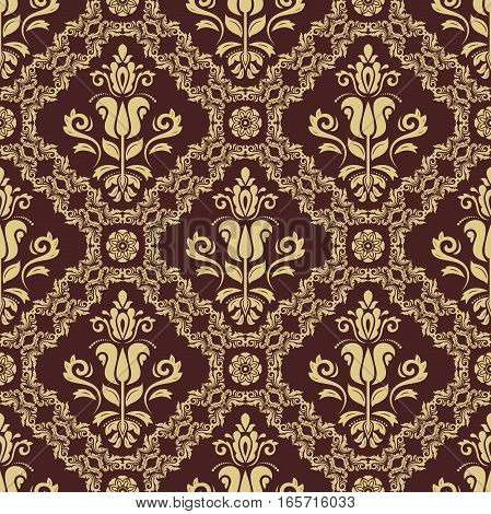 Oriental vector classic golden pattern. Seamless abstract background with repeating elements. Orient background