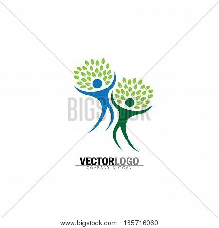 Two Happy People Tree Vector Logo Icon In Trendy Flat Style Isolated On White Background